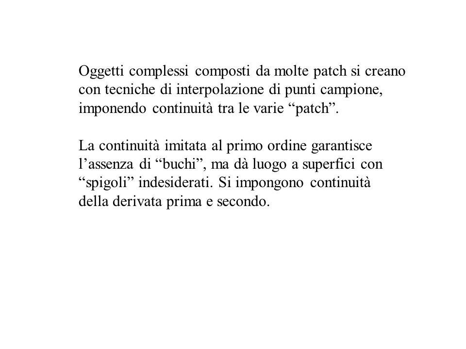 Oggetti complessi composti da molte patch si creano con tecniche di interpolazione di punti campione, imponendo continuità tra le varie patch. La cont