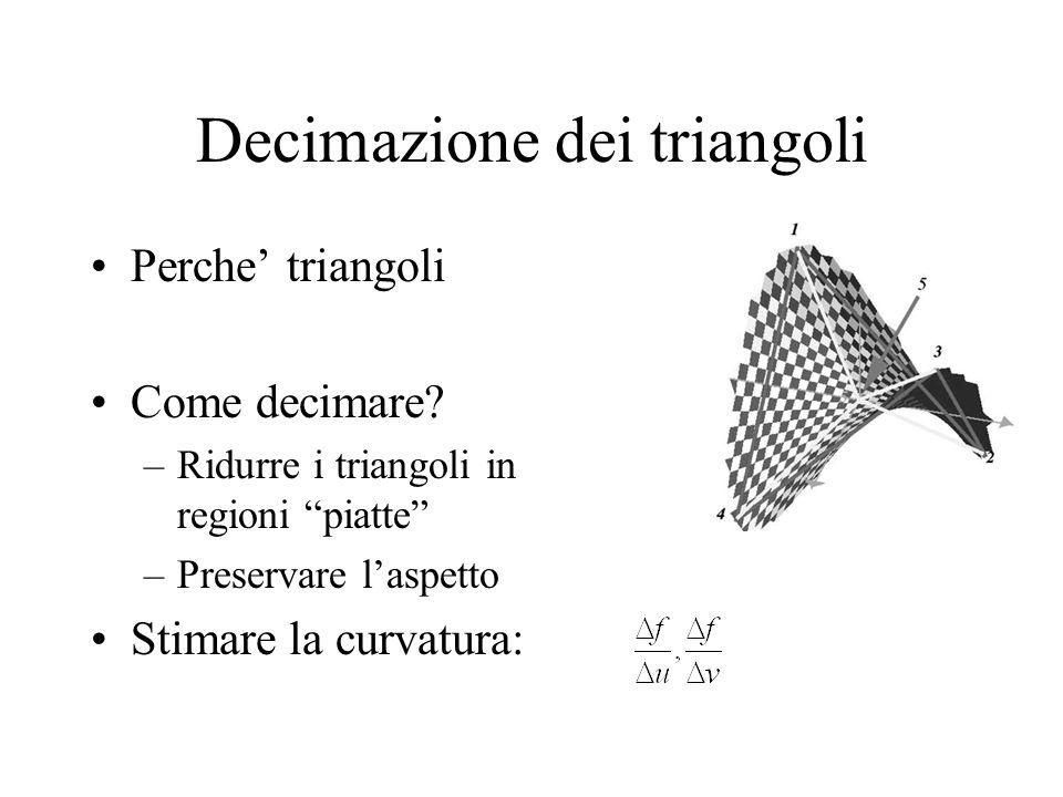 Decimazione dei triangoli Perche triangoli Come decimare? –Ridurre i triangoli in regioni piatte –Preservare laspetto Stimare la curvatura: