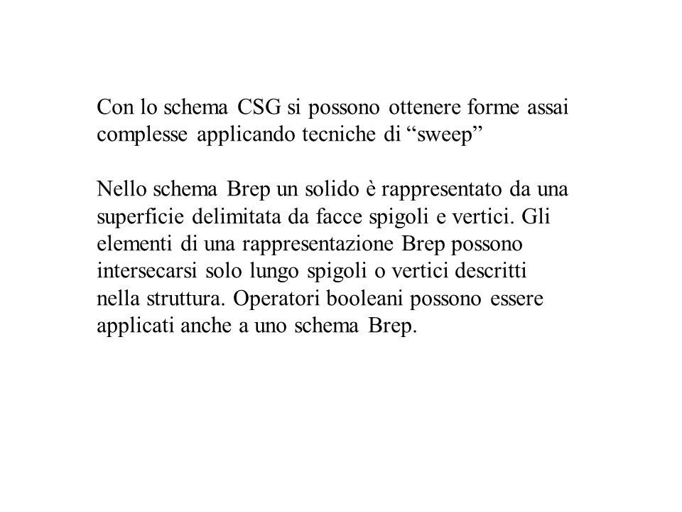 Con lo schema CSG si possono ottenere forme assai complesse applicando tecniche di sweep Nello schema Brep un solido è rappresentato da una superficie