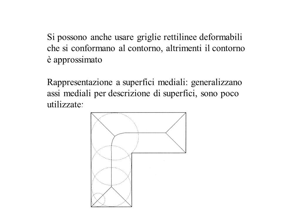 Si possono anche usare griglie rettilinee deformabili che si conformano al contorno, altrimenti il contorno è approssimato Rappresentazione a superfic