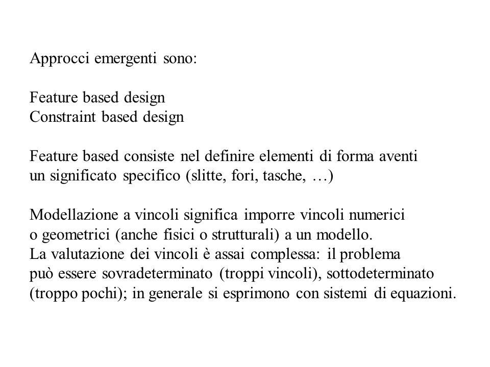 Approcci emergenti sono: Feature based design Constraint based design Feature based consiste nel definire elementi di forma aventi un significato spec