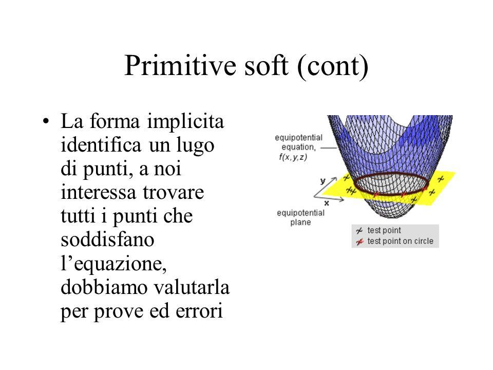 Primitive soft (cont) La forma implicita identifica un lugo di punti, a noi interessa trovare tutti i punti che soddisfano lequazione, dobbiamo valuta