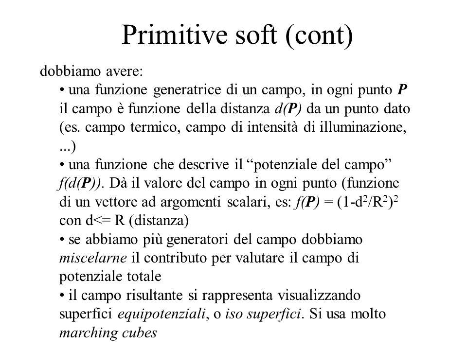 Primitive soft (cont) dobbiamo avere: una funzione generatrice di un campo, in ogni punto P il campo è funzione della distanza d(P) da un punto dato (