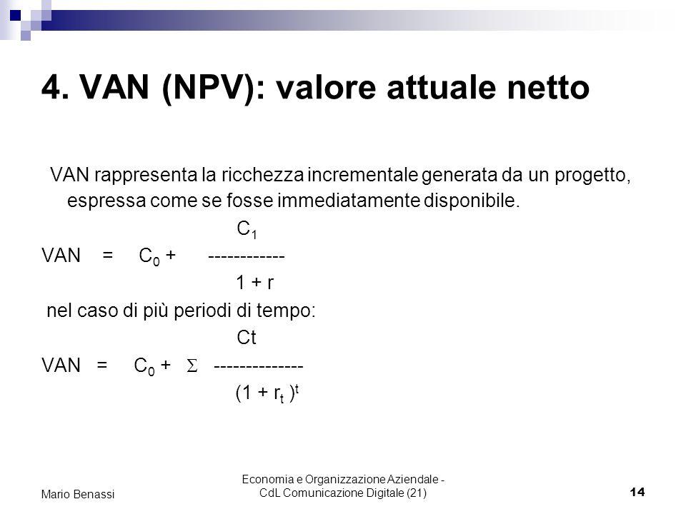 Economia e Organizzazione Aziendale - CdL Comunicazione Digitale (21)14 Mario Benassi 4. VAN (NPV): valore attuale netto VAN rappresenta la ricchezza