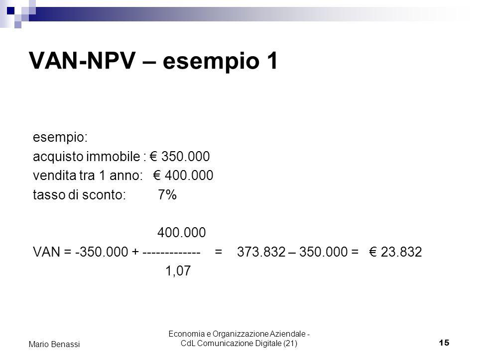 Economia e Organizzazione Aziendale - CdL Comunicazione Digitale (21)15 Mario Benassi VAN-NPV – esempio 1 esempio: acquisto immobile : 350.000 vendita tra 1 anno: 400.000 tasso di sconto: 7% 400.000 VAN = -350.000 + ------------- = 373.832 – 350.000 = 23.832 1,07