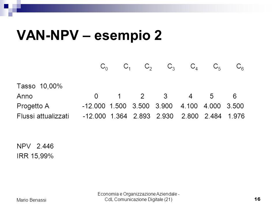 Economia e Organizzazione Aziendale - CdL Comunicazione Digitale (21)16 Mario Benassi VAN-NPV – esempio 2 C 0 C 1 C 2 C 3 C 4 C 5 C 6 Tasso 10,00% Anno 0 1 2 3 4 5 6 Progetto A -12.000 1.500 3.500 3.900 4.100 4.000 3.500 Flussi attualizzati -12.000 1.364 2.893 2.930 2.800 2.484 1.976 NPV 2.446 IRR 15,99%
