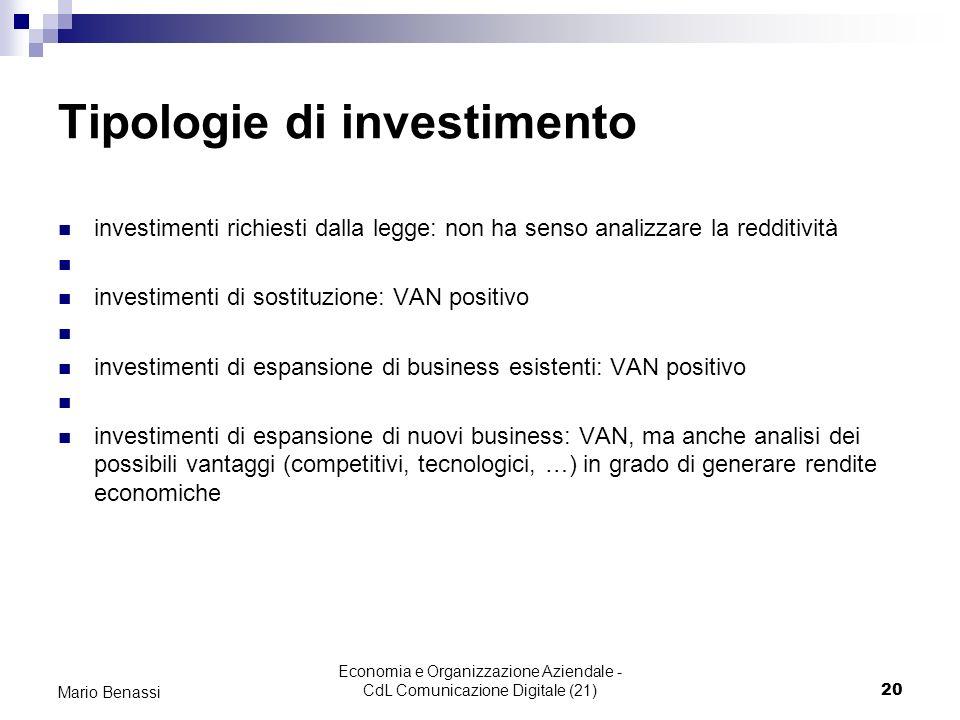 Economia e Organizzazione Aziendale - CdL Comunicazione Digitale (21)20 Mario Benassi Tipologie di investimento investimenti richiesti dalla legge: no