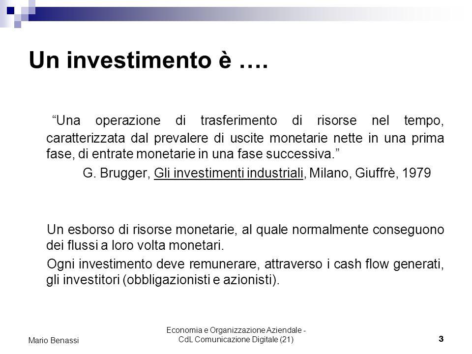 Economia e Organizzazione Aziendale - CdL Comunicazione Digitale (21)3 Mario Benassi Un investimento è …. Una operazione di trasferimento di risorse n
