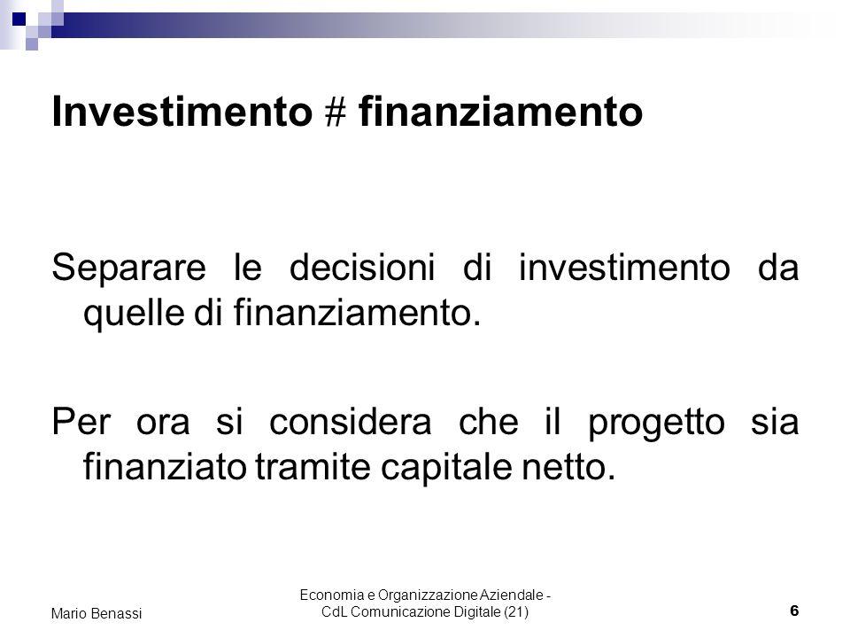 Economia e Organizzazione Aziendale - CdL Comunicazione Digitale (21)6 Mario Benassi Investimento finanziamento Separare le decisioni di investimento da quelle di finanziamento.