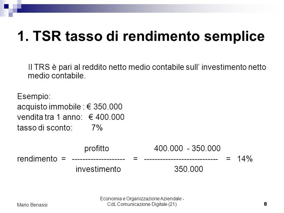 Economia e Organizzazione Aziendale - CdL Comunicazione Digitale (21)8 Mario Benassi 1. TSR tasso di rendimento semplice Il TRS è pari al reddito nett