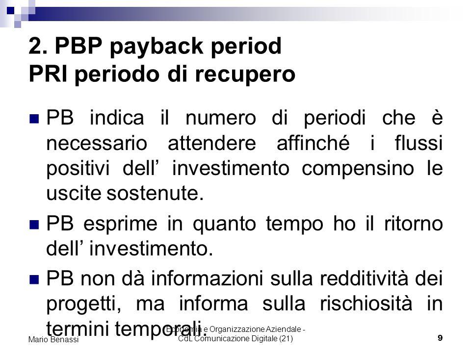 Economia e Organizzazione Aziendale - CdL Comunicazione Digitale (21)9 Mario Benassi 2. PBP payback period PRI periodo di recupero PB indica il numero