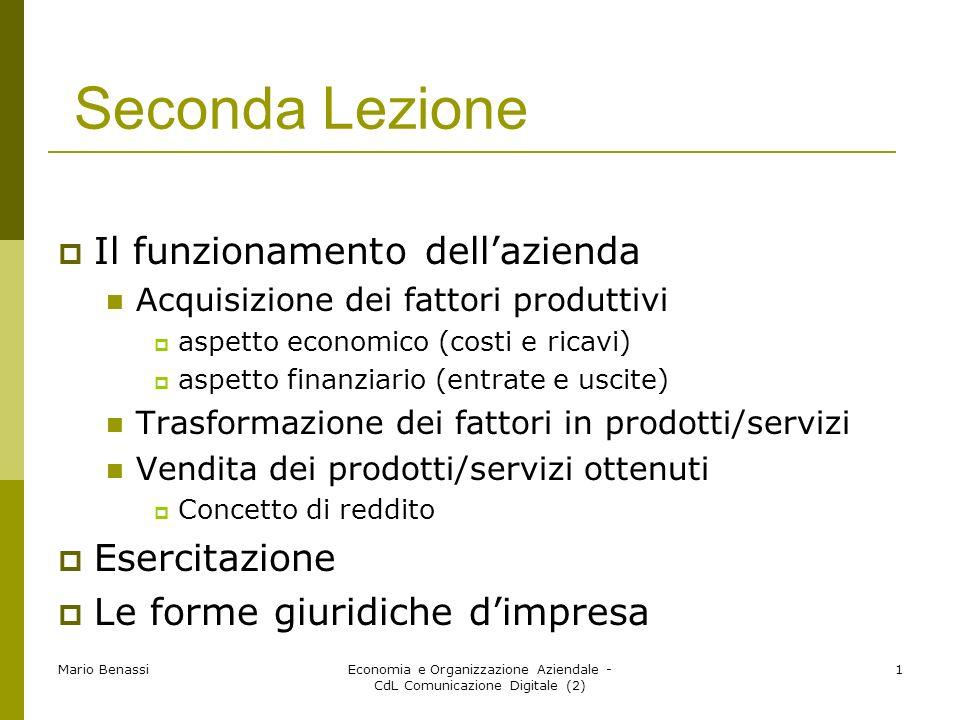 Mario BenassiEconomia e Organizzazione Aziendale - CdL Comunicazione Digitale (2) 1 Seconda Lezione Il funzionamento dellazienda Acquisizione dei fatt
