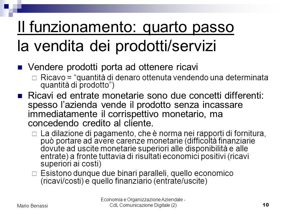 Economia e Organizzazione Aziendale - CdL Comunicazione Digitale (2)10 Mario Benassi Il funzionamento: quarto passo la vendita dei prodotti/servizi Ve