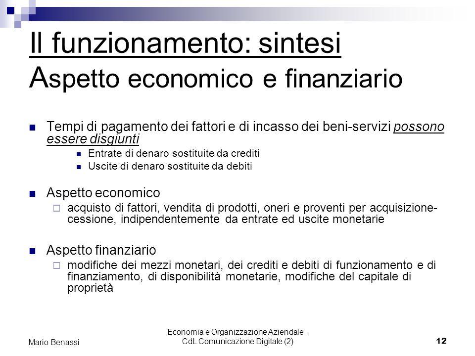 Economia e Organizzazione Aziendale - CdL Comunicazione Digitale (2)12 Mario Benassi Il funzionamento: sintesi A spetto economico e finanziario Tempi