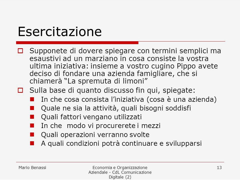 Mario BenassiEconomia e Organizzazione Aziendale - CdL Comunicazione Digitale (2) 13 Esercitazione Supponete di dovere spiegare con termini semplici m