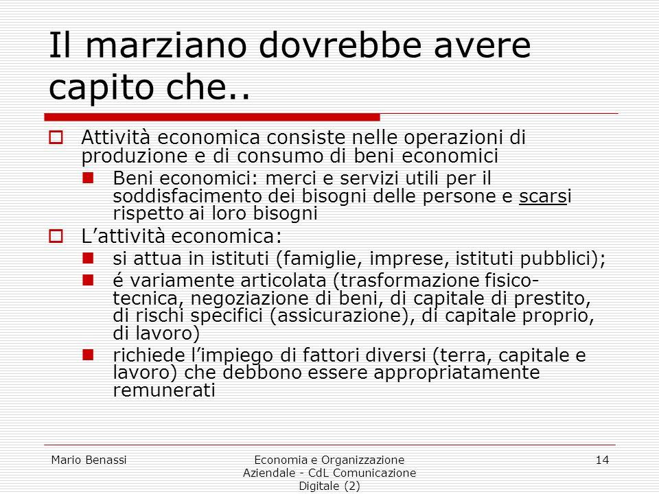 Mario BenassiEconomia e Organizzazione Aziendale - CdL Comunicazione Digitale (2) 14 Il marziano dovrebbe avere capito che.. Attività economica consis