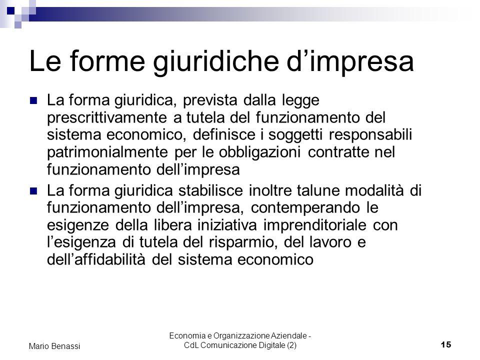 Economia e Organizzazione Aziendale - CdL Comunicazione Digitale (2)15 Mario Benassi Le forme giuridiche dimpresa La forma giuridica, prevista dalla l