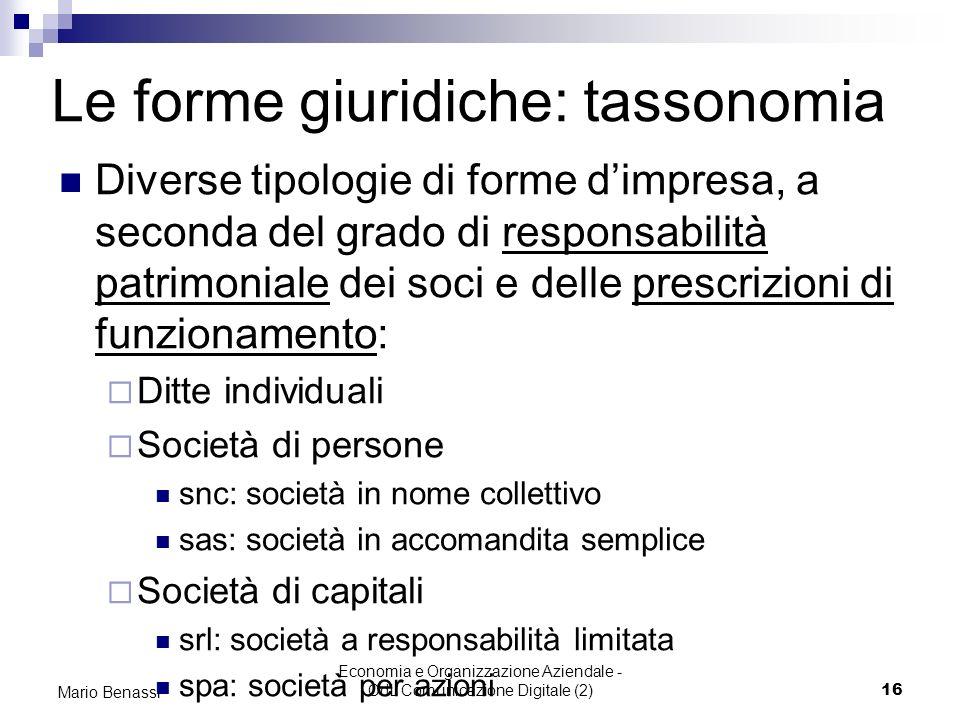 Economia e Organizzazione Aziendale - CdL Comunicazione Digitale (2)16 Mario Benassi Le forme giuridiche: tassonomia Diverse tipologie di forme dimpre