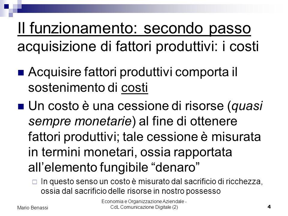 Economia e Organizzazione Aziendale - CdL Comunicazione Digitale (2)4 Mario Benassi Il funzionamento: secondo passo acquisizione di fattori produttivi