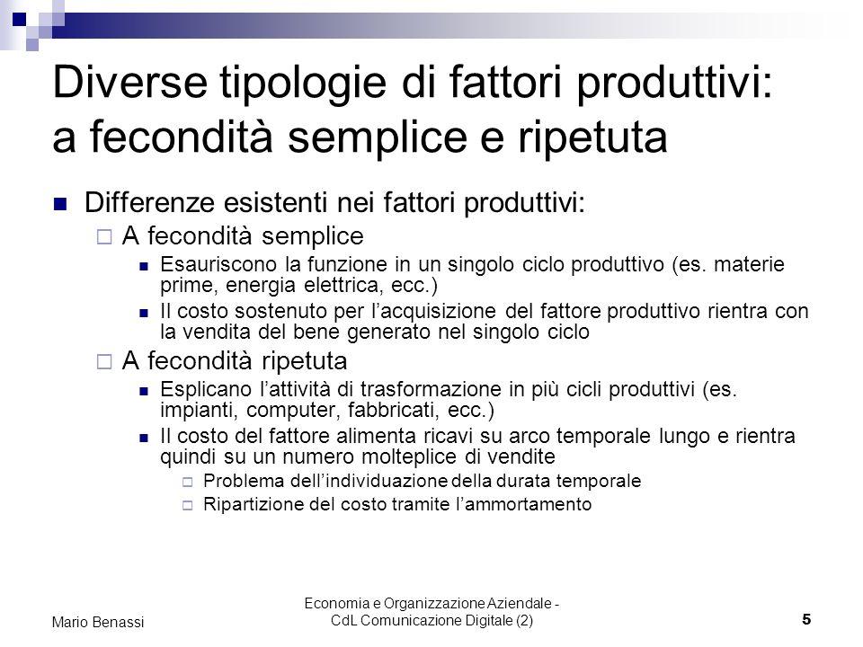 Economia e Organizzazione Aziendale - CdL Comunicazione Digitale (2)5 Mario Benassi Diverse tipologie di fattori produttivi: a fecondità semplice e ri