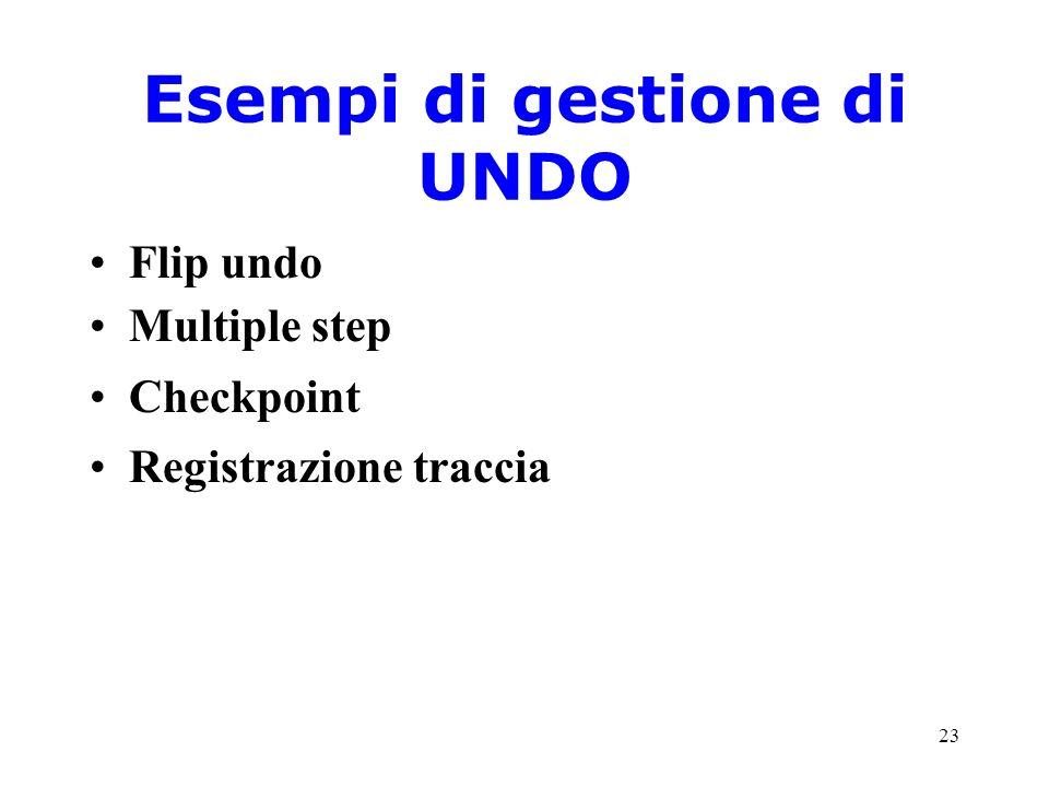 23 Esempi di gestione di UNDO Flip undo Multiple step Checkpoint Registrazione traccia