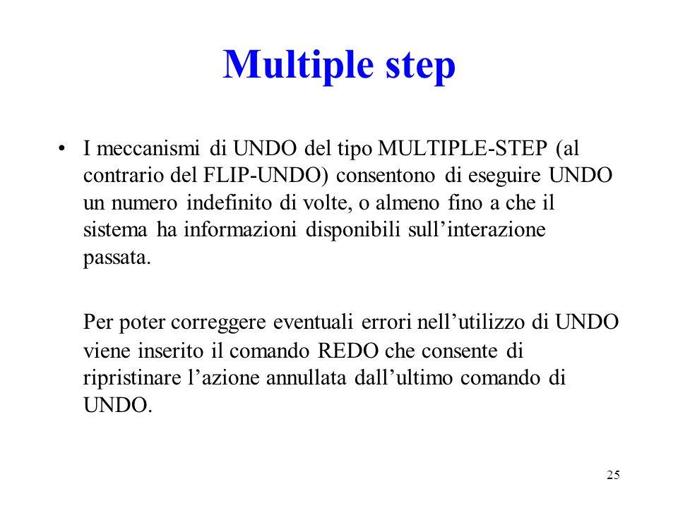 25 Multiple step I meccanismi di UNDO del tipo MULTIPLE-STEP (al contrario del FLIP-UNDO) consentono di eseguire UNDO un numero indefinito di volte, o