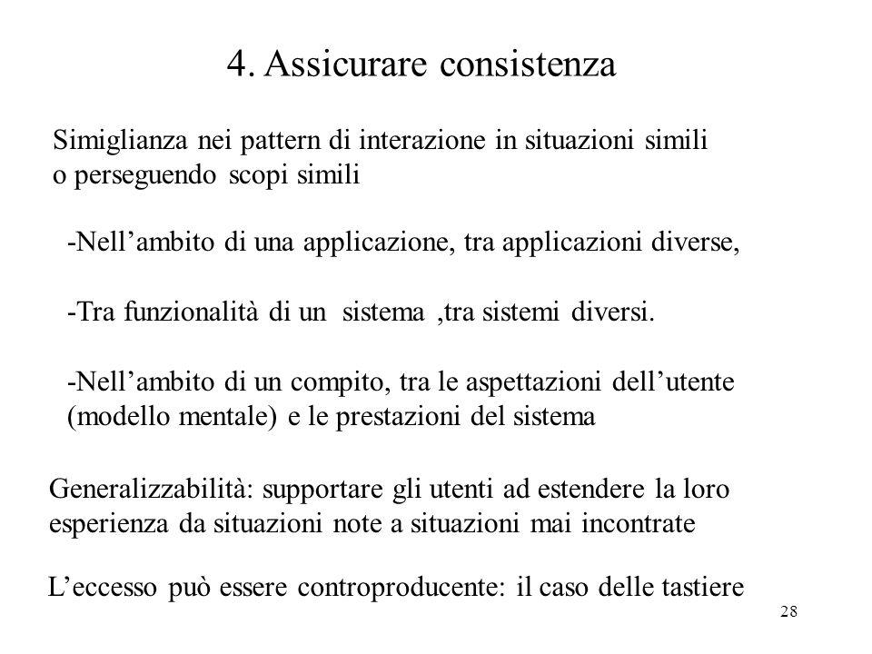 28 4. Assicurare consistenza Leccesso può essere controproducente: il caso delle tastiere Generalizzabilità: supportare gli utenti ad estendere la lor