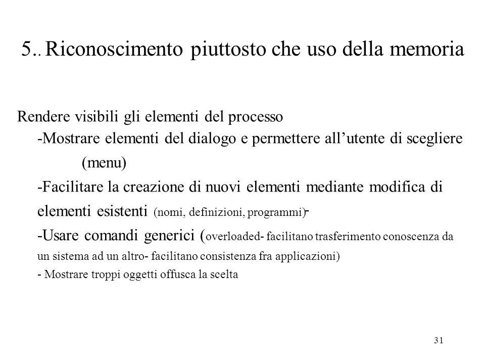 31 - 5.. Riconoscimento piuttosto che uso della memoria Rendere visibili gli elementi del processo -Mostrare elementi del dialogo e permettere alluten