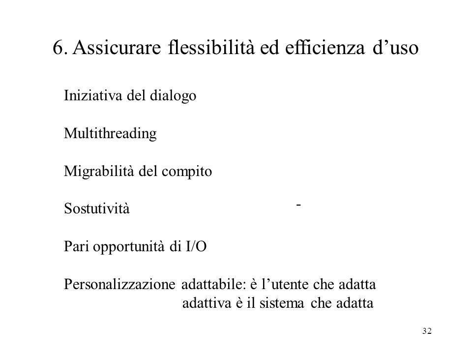32 - 6. Assicurare flessibilità ed efficienza duso Iniziativa del dialogo Multithreading Migrabilità del compito Sostutività Pari opportunità di I/O P