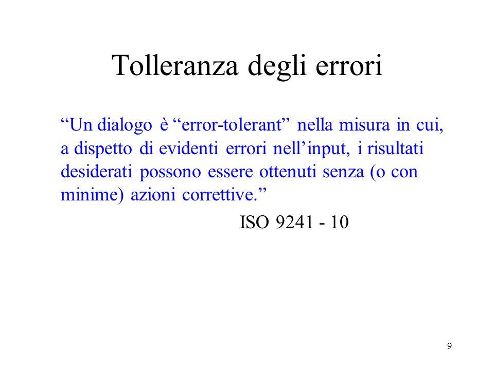 9 Tolleranza degli errori Un dialogo è error-tolerant nella misura in cui, a dispetto di evidenti errori nellinput, i risultati desiderati possono essere ottenuti senza (o con minime) azioni correttive.