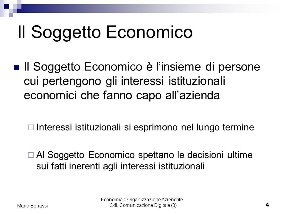 Mario Benassi Economia e Organizzazione Aziendale - CdL Comunicazione Digitale (3) 15 La public company: il caso Magona Magona SpA è una società ultracentenaria che si occupa della trasformazione di prodotti siderurgici.