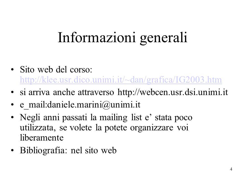 4 Informazioni generali Sito web del corso: http://klee.usr.dico.unimi.it/~dan/grafica/IG2003.htm http://klee.usr.dico.unimi.it/~dan/grafica/IG2003.htm si arriva anche attraverso http://webcen.usr.dsi.unimi.it e_mail:daniele.marini@unimi.it Negli anni passati la mailing list e stata poco utilizzata, se volete la potete organizzare voi liberamente Bibliografia: nel sito web