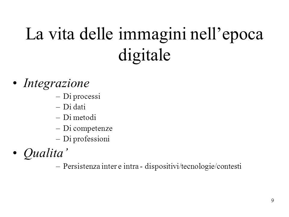 9 La vita delle immagini nellepoca digitale Integrazione –Di processi –Di dati –Di metodi –Di competenze –Di professioni Qualita –Persistenza inter e intra - dispositivi/tecnologie/contesti