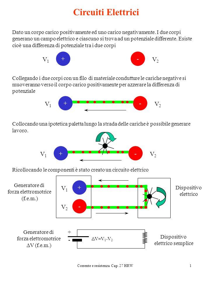 Corrente e resistenza Cap. 27 HRW1 Circuiti Elettrici Dato un corpo carico positivamente ed uno carico negativamente. I due corpi generano un campo el