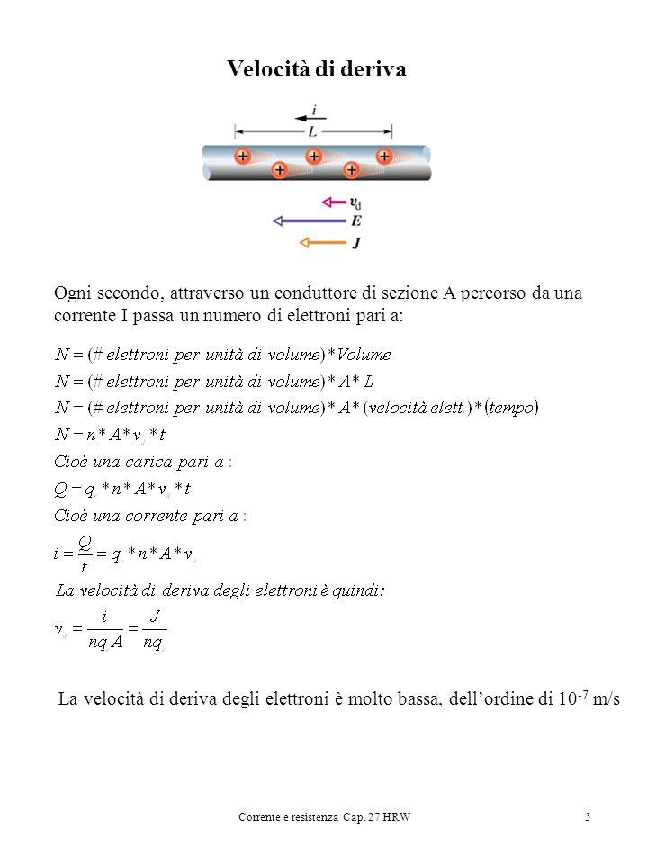 Corrente e resistenza Cap. 27 HRW5 Velocità di deriva Ogni secondo, attraverso un conduttore di sezione A percorso da una corrente I passa un numero d