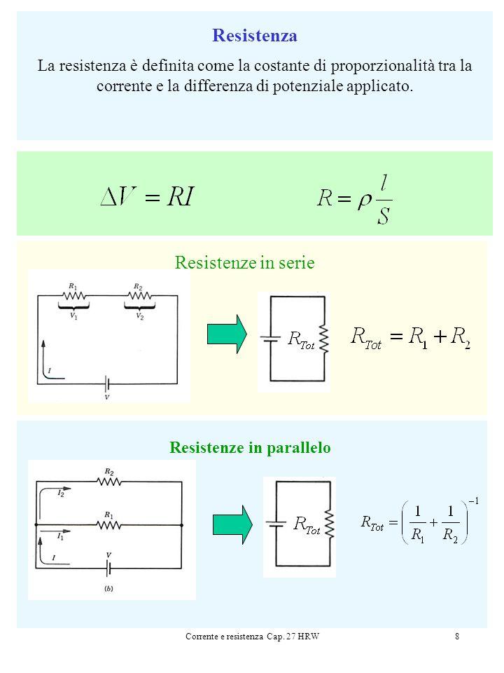 Corrente e resistenza Cap. 27 HRW8 Resistenza La resistenza è definita come la costante di proporzionalità tra la corrente e la differenza di potenzia