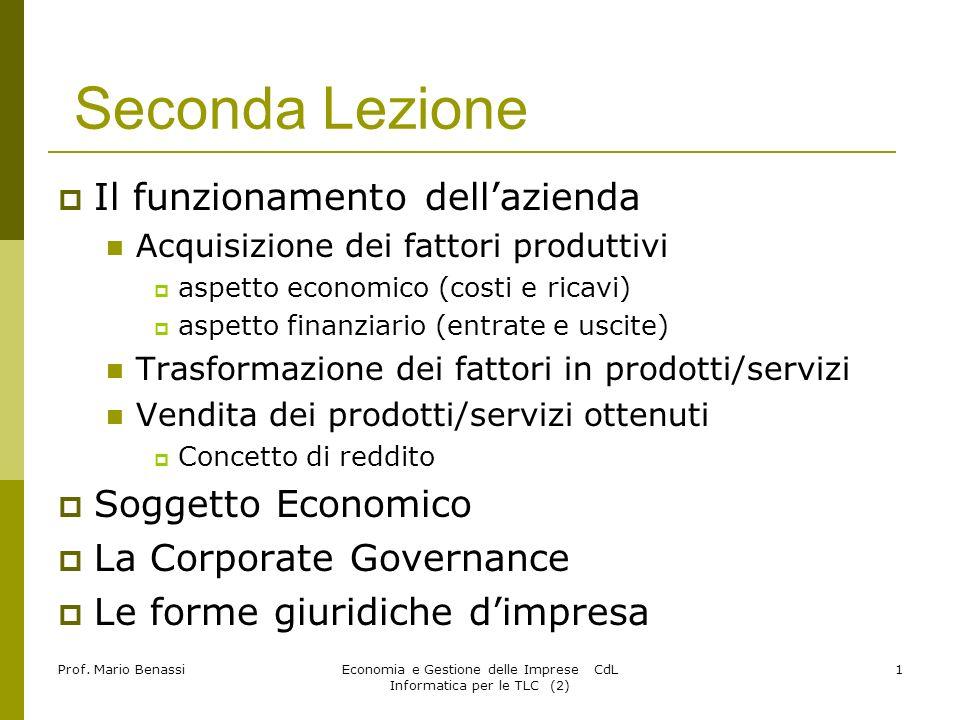 Economia e Gestione delle Imprese CdL Informatica per le TLC (2)2 Prof.