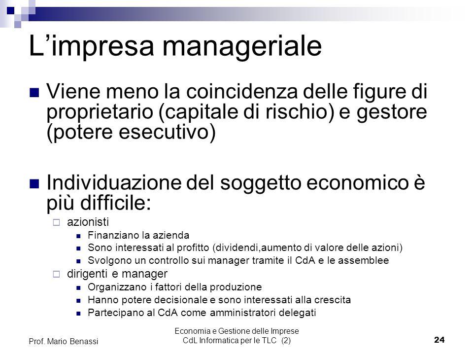 Economia e Gestione delle Imprese CdL Informatica per le TLC (2)24 Prof.