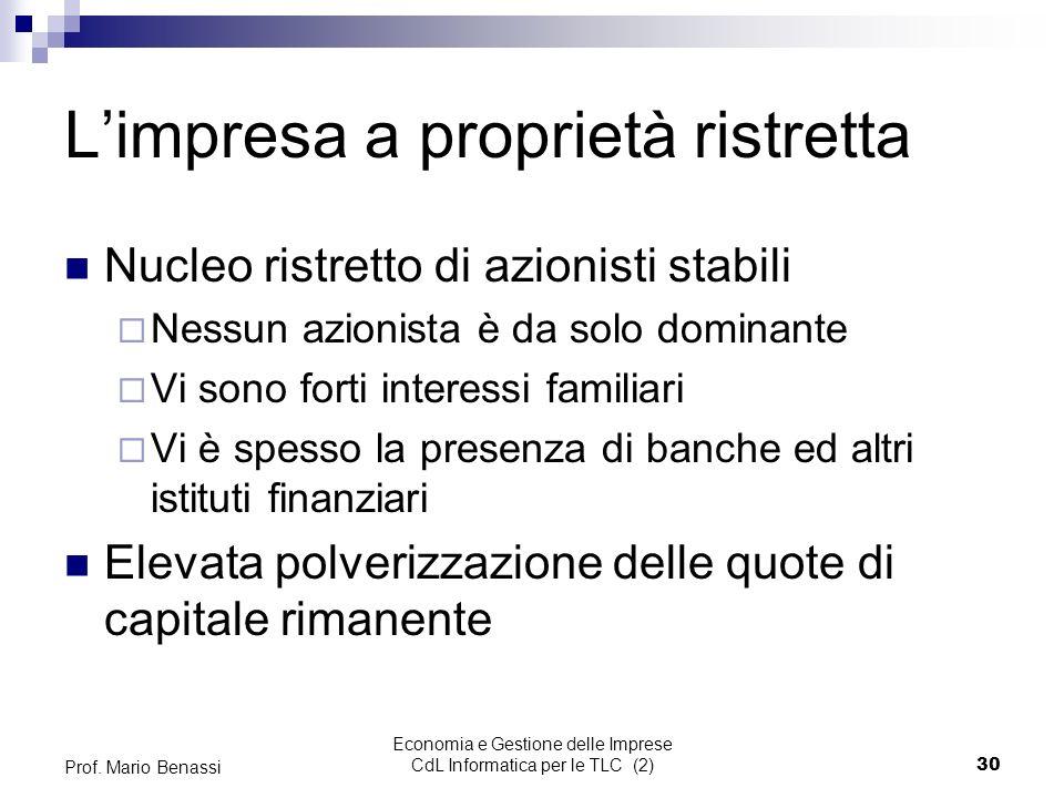 Economia e Gestione delle Imprese CdL Informatica per le TLC (2)30 Prof.