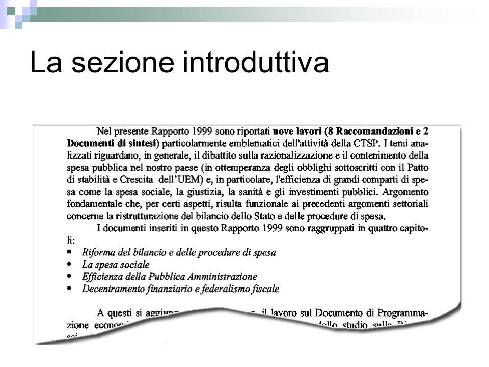 La sezione introduttiva