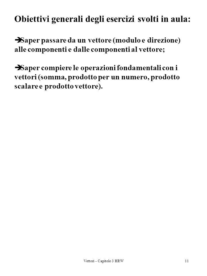Vettori - Capitolo 3 HRW11 Obiettivi generali degli esercizi svolti in aula: Saper passare da un vettore (modulo e direzione) alle componenti e dalle