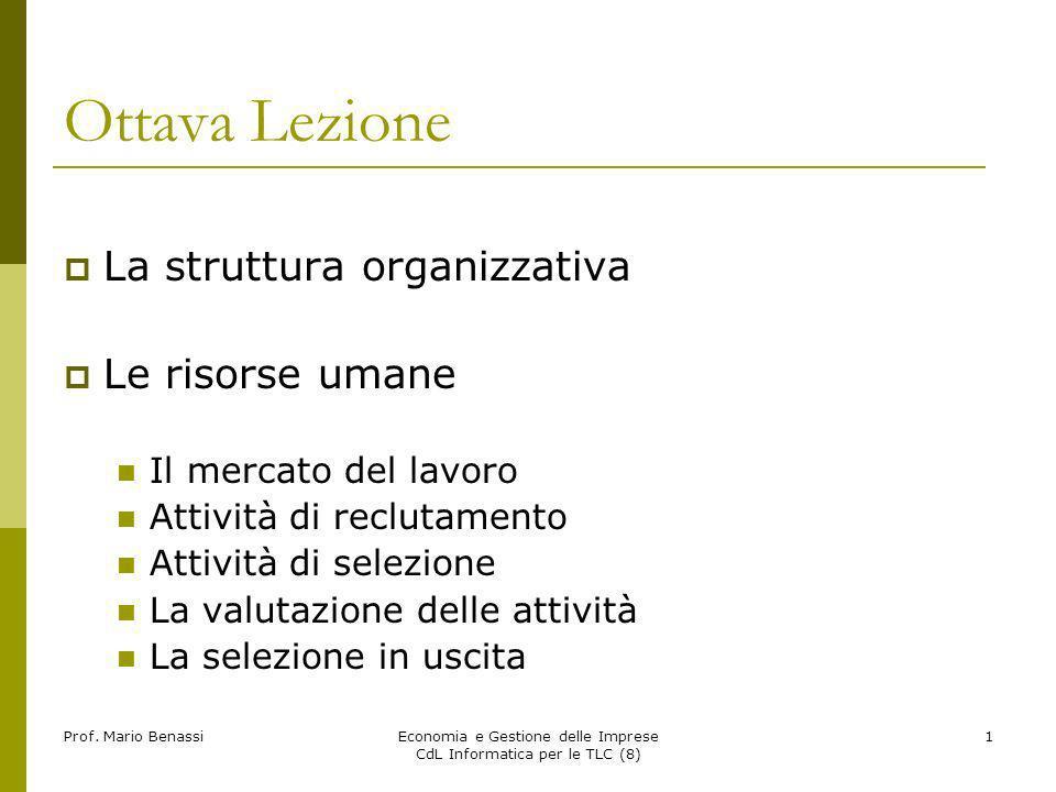 Prof. Mario BenassiEconomia e Gestione delle Imprese CdL Informatica per le TLC (8) 1 Ottava Lezione La struttura organizzativa Le risorse umane Il me