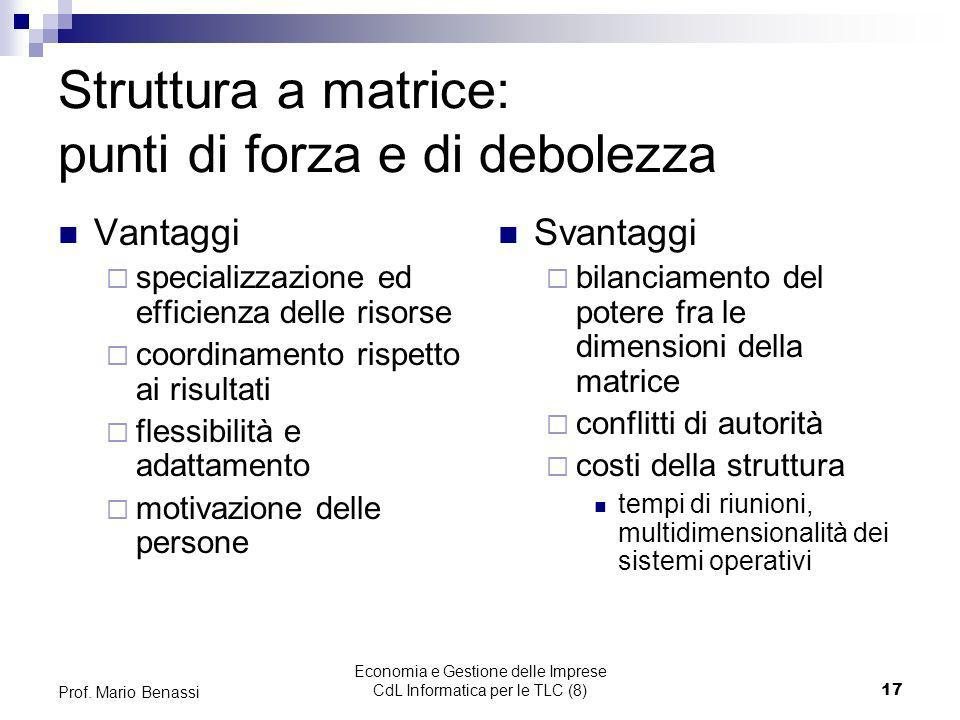 Economia e Gestione delle Imprese CdL Informatica per le TLC (8)17 Prof. Mario Benassi Struttura a matrice: punti di forza e di debolezza Vantaggi spe