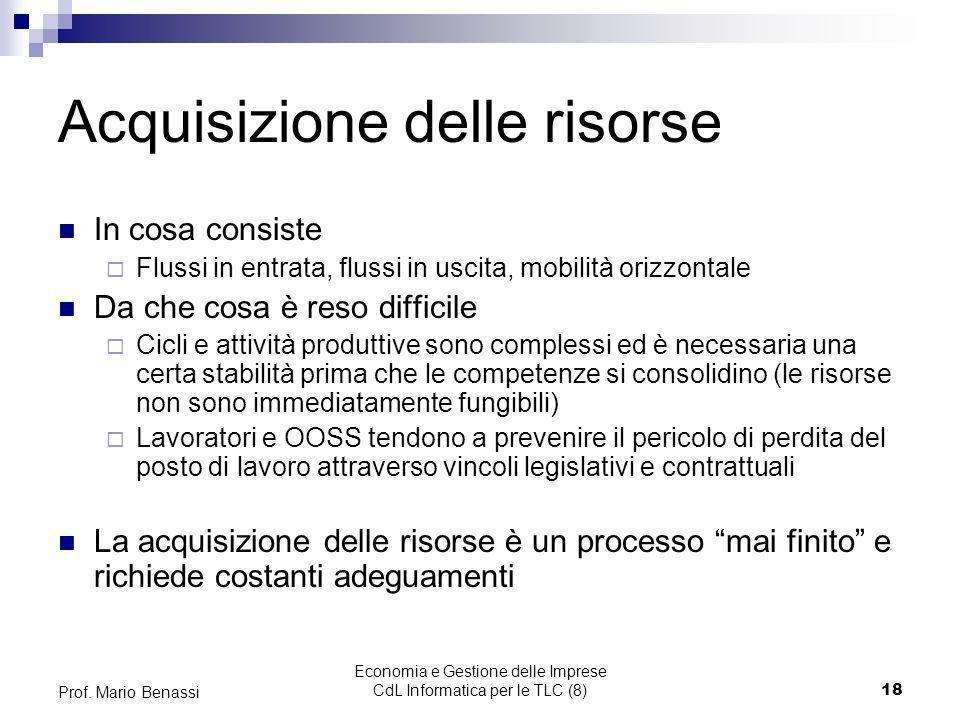 Economia e Gestione delle Imprese CdL Informatica per le TLC (8)18 Prof. Mario Benassi Acquisizione delle risorse In cosa consiste Flussi in entrata,