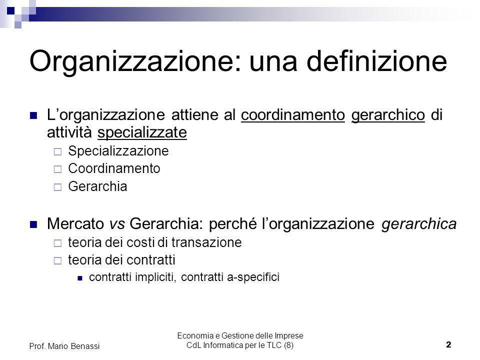 Economia e Gestione delle Imprese CdL Informatica per le TLC (8)2 Prof. Mario Benassi Organizzazione: una definizione Lorganizzazione attiene al coord