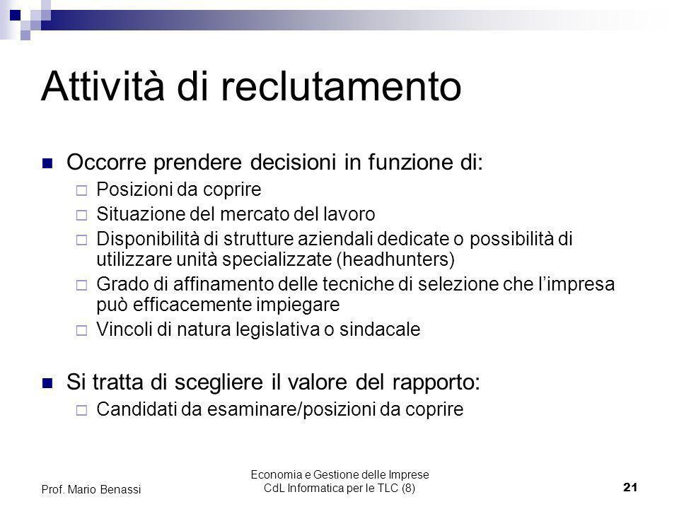 Economia e Gestione delle Imprese CdL Informatica per le TLC (8)21 Prof. Mario Benassi Attività di reclutamento Occorre prendere decisioni in funzione