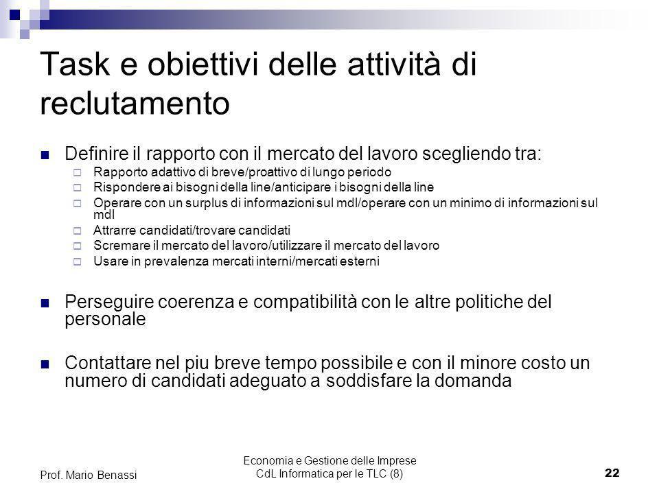 Economia e Gestione delle Imprese CdL Informatica per le TLC (8)22 Prof. Mario Benassi Task e obiettivi delle attività di reclutamento Definire il rap