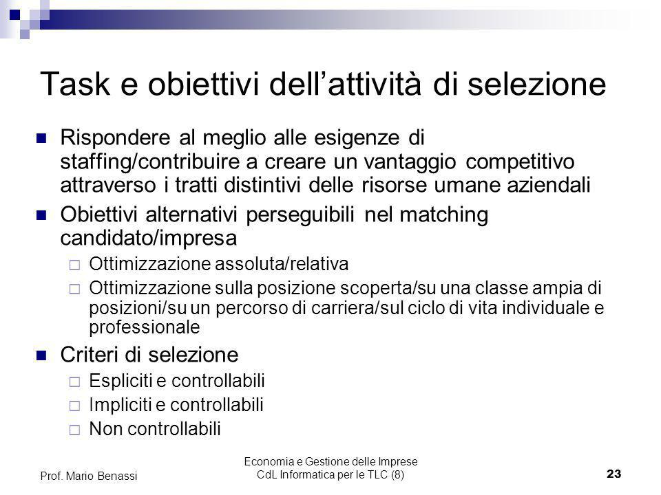Economia e Gestione delle Imprese CdL Informatica per le TLC (8)23 Prof. Mario Benassi Task e obiettivi dellattività di selezione Rispondere al meglio