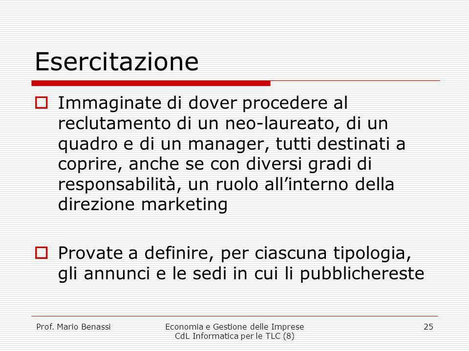 Prof. Mario BenassiEconomia e Gestione delle Imprese CdL Informatica per le TLC (8) 25 Esercitazione Immaginate di dover procedere al reclutamento di