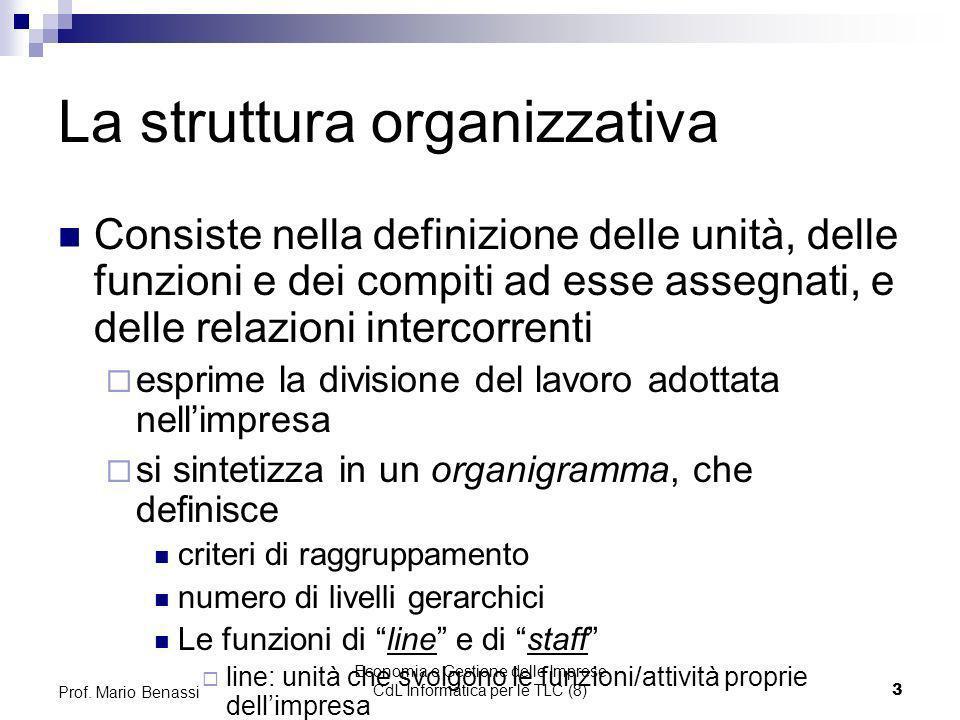 Economia e Gestione delle Imprese CdL Informatica per le TLC (8)3 Prof. Mario Benassi La struttura organizzativa Consiste nella definizione delle unit